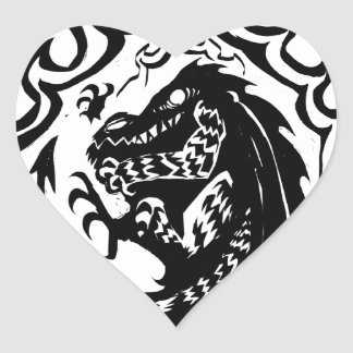 Flaming Dinosaur or Dragon by Nic Sweet Heart Sticker
