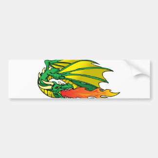 Flaming Dragon Bumper Sticker