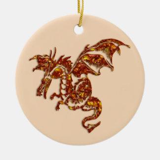 Flaming Dragon Ceramic Ornament