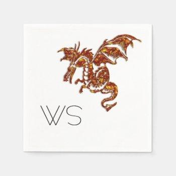 Flaming Dragon Monogram Napkin