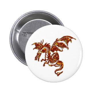 Flaming Dragon Pinback Button
