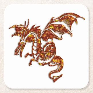 Flaming Dragon Square Paper Coaster