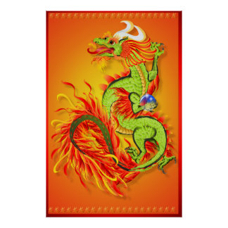 Flaming Dragon with Symbol Poster