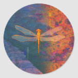 Flaming Dragonfly Classic Round Sticker