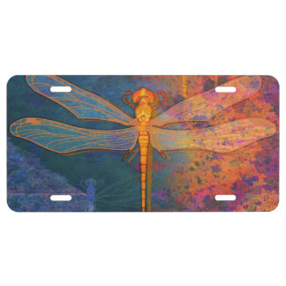 Flaming Dragonfly License Plate
