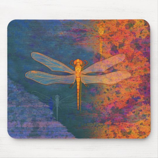 Flaming Dragonfly Mouse Pad