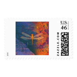 Flaming Dragonfly Postage Stamps