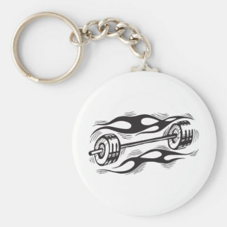 Flaming Dumbbell Basic Round Button Keychain