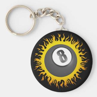 Flaming Eight Ball Key Chain