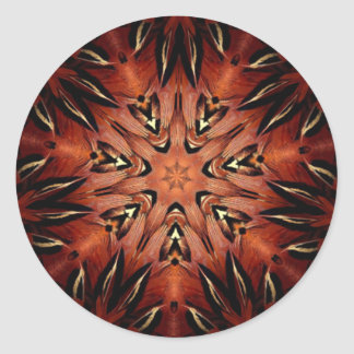 Flaming Feather Kaleidoscope Classic Round Sticker