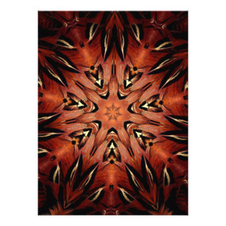 Flaming Feather Kaleidoscope Personalized Invite
