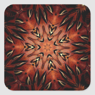 Flaming Feather Kaleidoscope Square Sticker