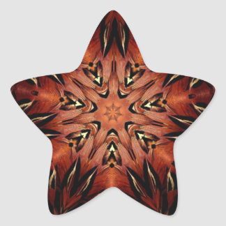 Flaming Feather Kaleidoscope Star Sticker