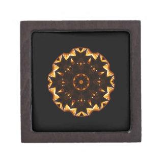 Flaming Fire Flower Geometric Kaleidoscope Premium Jewelry Boxes