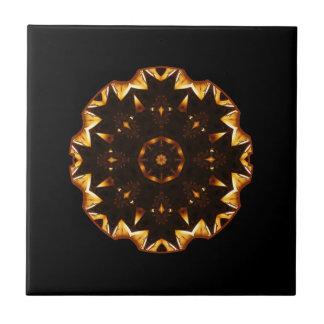Flaming Fire Flower Geometric Kaleidoscope Ceramic Tile