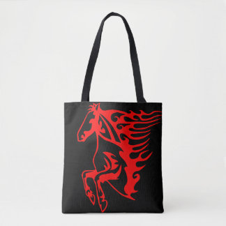 Flaming Fire Red Stallion Mustang Wild Horse Tote Bag