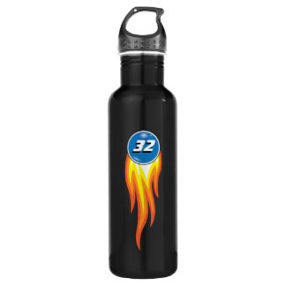 Flaming Fireball Hot Suff Your Favorite Number Water Bottle