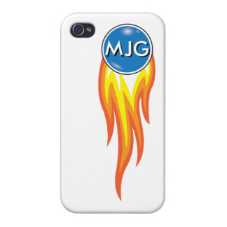 Flaming Fireball Personalized Initials Cases For iPhone 4