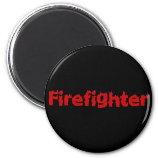 Flaming Firefighter Design in Red 2 Inch Round Magnet
