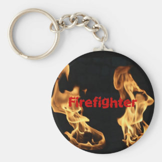Flaming Firefighter Flames Fire Basic Round Button Keychain