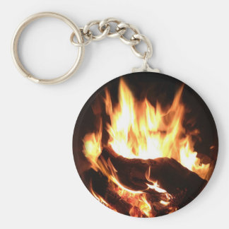 Flaming Fireplace Design Keychain