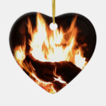 Flaming Fireplace Design Ornament