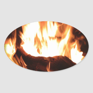 Flaming Fireplace Design Sticker