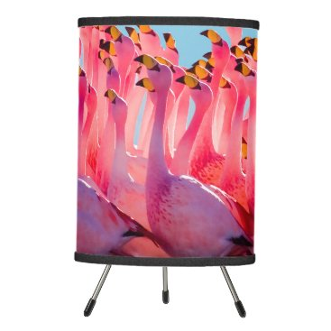 Beach Themed Flaming Flamingos Tripod Lamp