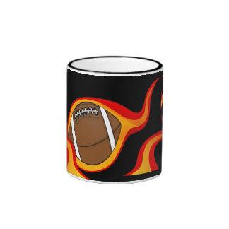 flaming football ball coffee mug