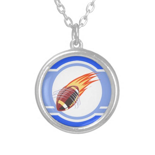 Flaming Football; Blue Necklace