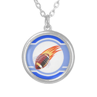 Flaming Football; Blue Round Pendant Necklace