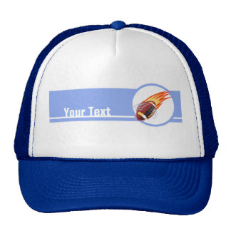 Flaming Football; Blue Trucker Hat