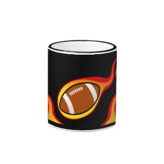 flaming football  products ringer coffee mug