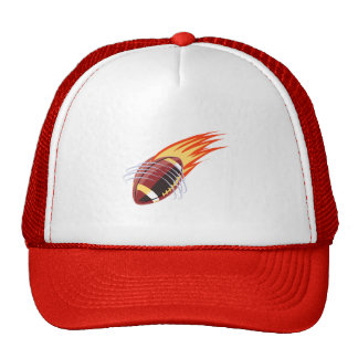 Flaming Football; Red Trucker Hat