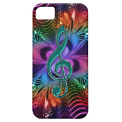 Flaming Fractal Music Treble Clef Case for iPhone iPhone 5 Case