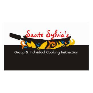 Flaming  frying pan skillet chef catering biz card