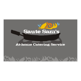 Flaming frying pan skillet chef catering biz cards Double-Sided standard business cards (Pack of 100)