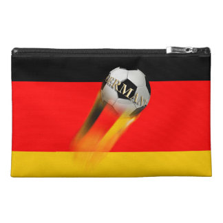 Flaming Germany Soccer Ball on Flag Travel Accessories Bag