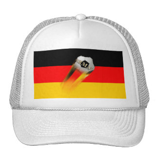 Flaming Germany Soccer Ball on Flag Trucker Hats