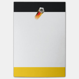 Flaming Germany Soccer Ball on Flag Post-it Notes