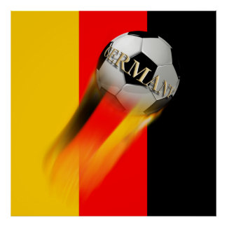 Flaming Germany Soccer Ball on Flag Print