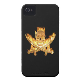 Flaming Gold Jolly Roger iPhone 4 Case-Mate Case