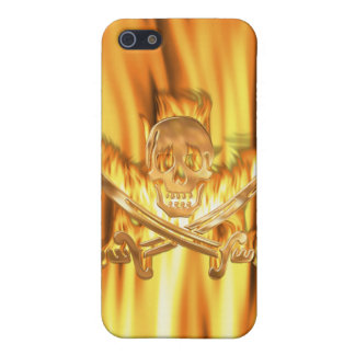Flaming Gold Jolly Roger Covers For iPhone 5