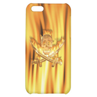 Flaming Gold Jolly Roger Cover For iPhone 5C