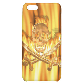 Flaming Gold Jolly Roger Case For iPhone 5C