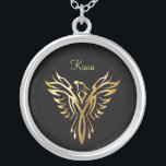 """Flaming golden phoenix rising silver plated necklace<br><div class=""""desc"""">A golden phoenix is aflame in this easily personalized design.</div>"""