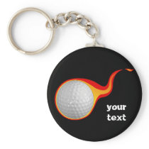 flaming golf ball keychain