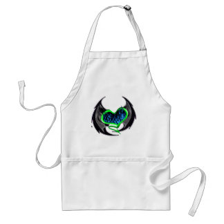 Flaming Green Heart with Bat Wings Adult Apron