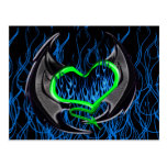 Flaming Green Heart with Bat Wings Postcard