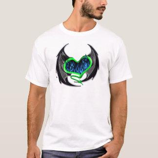 Flaming Green Heart with Bat Wings T-Shirt